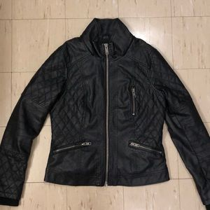 2/$75 Garage Rebel Jacket Faux Leather Black EUC